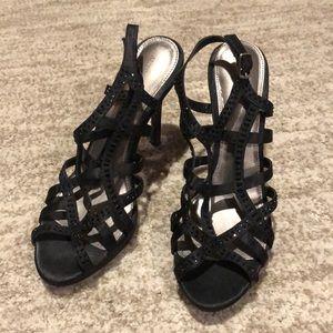Black beaded heels